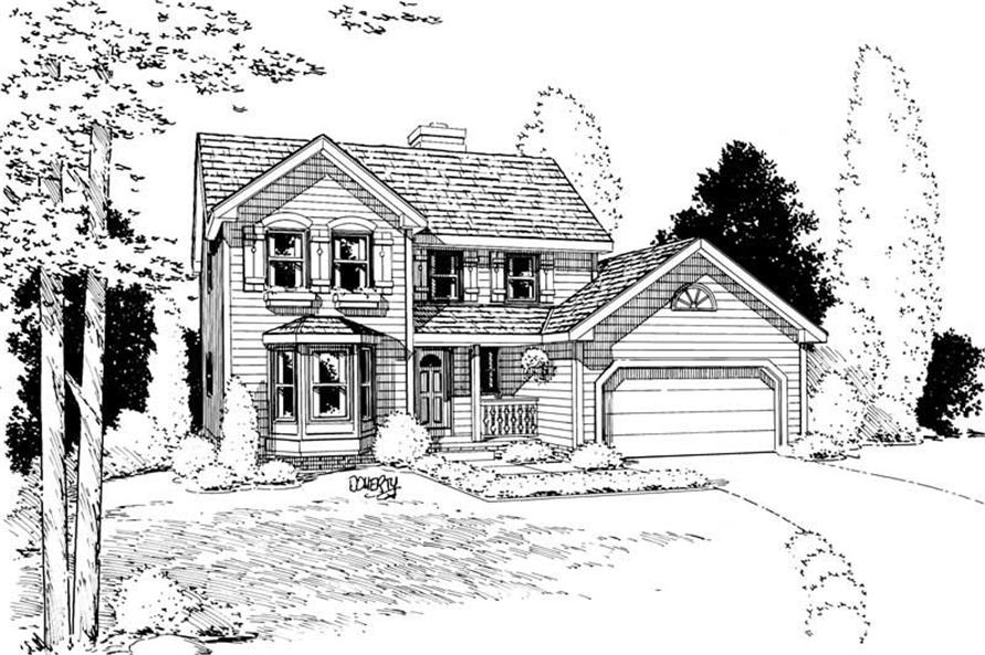 Front Elevation of this 3-Bedroom,1753 Sq Ft Plan -1753