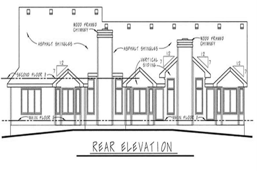 Home Plan Rear Elevation of this 3-Bedroom,1621 Sq Ft Plan -120-1352