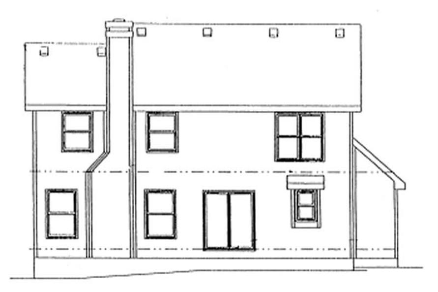 Home Plan Rear Elevation of this 4-Bedroom,1844 Sq Ft Plan -120-1354