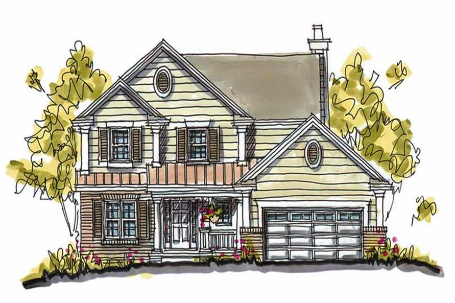 4-Bedroom, 2324 Sq Ft Country House Plan - 120-1361 - Front Exterior
