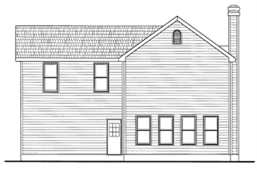 Home Plan Rear Elevation of this 3-Bedroom,1297 Sq Ft Plan -120-1368