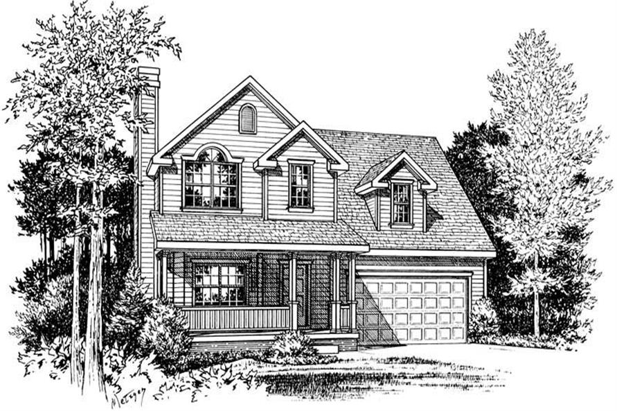 Front Elevation of this 3-Bedroom,1297 Sq Ft Plan -1297