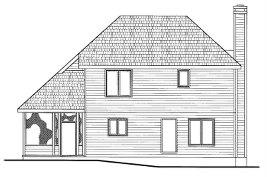 Home Plan Rear Elevation of this 3-Bedroom,1491 Sq Ft Plan -120-1369