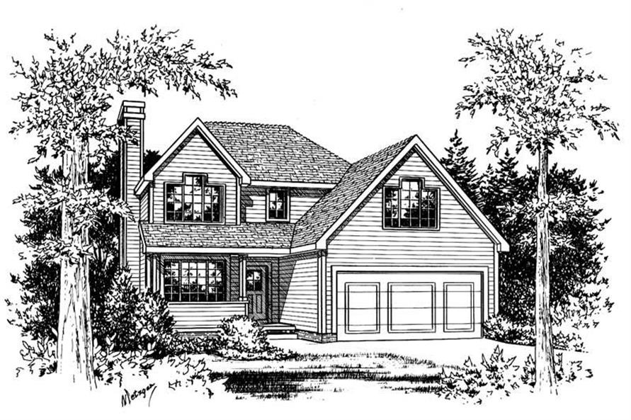 Front Elevation of this 3-Bedroom,1491 Sq Ft Plan -1491
