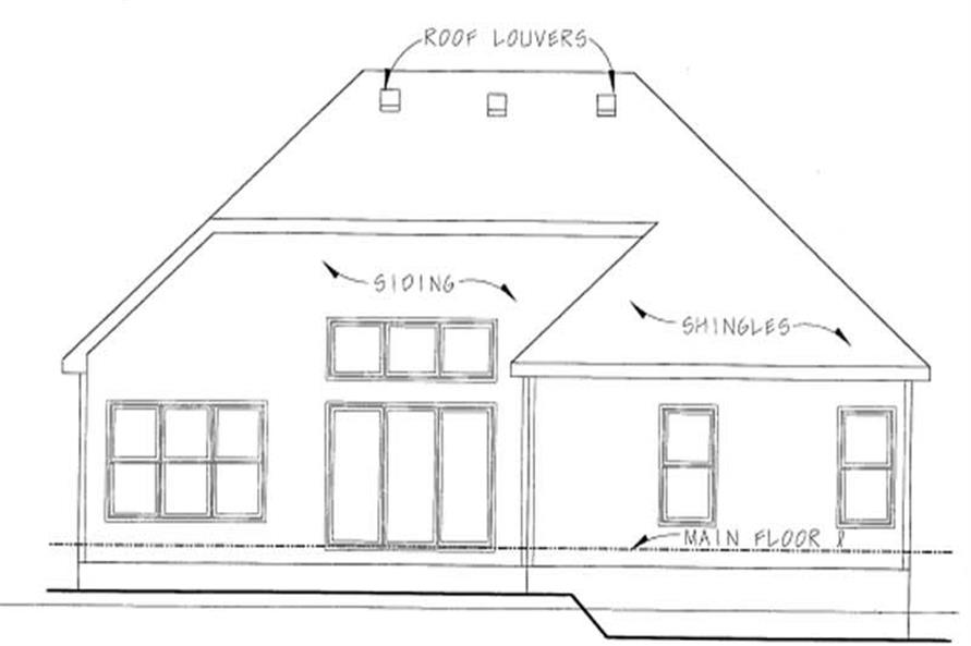 Home Plan Rear Elevation of this 3-Bedroom,1495 Sq Ft Plan -120-1371