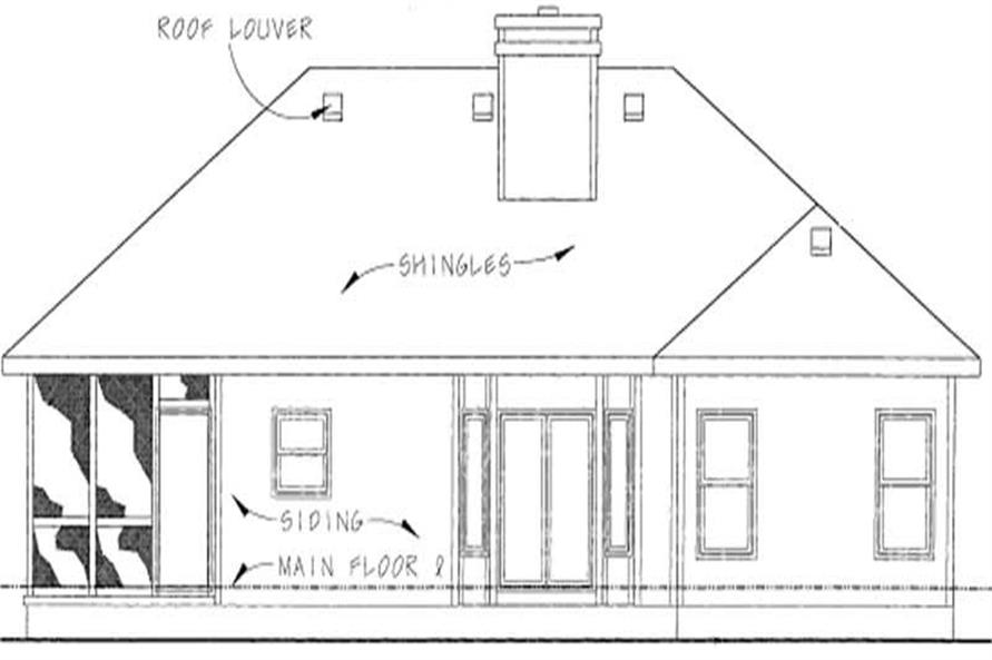 Home Plan Rear Elevation of this 3-Bedroom,1406 Sq Ft Plan -120-1374