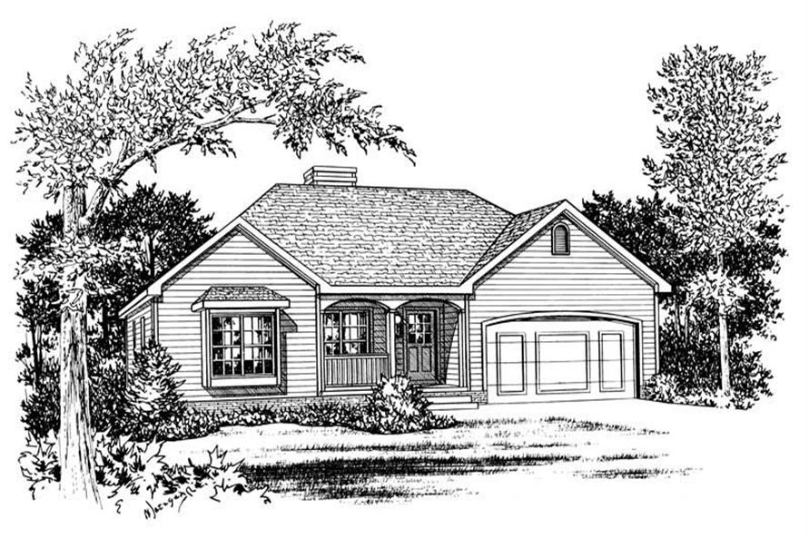 3-Bedroom, 1406 Sq Ft Small House Plans - 120-1374 - Front Exterior