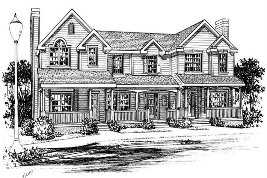 3-Bedroom, 1301 Sq Ft Multi-Unit Home Plan - 120-1376 - Main Exterior