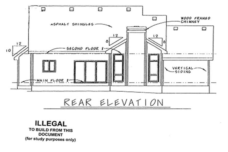 Home Plan Rear Elevation of this 3-Bedroom,1694 Sq Ft Plan -120-1384