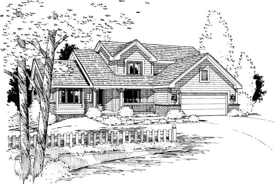 Home Plan Rendering of this 3-Bedroom,1694 Sq Ft Plan -120-1384