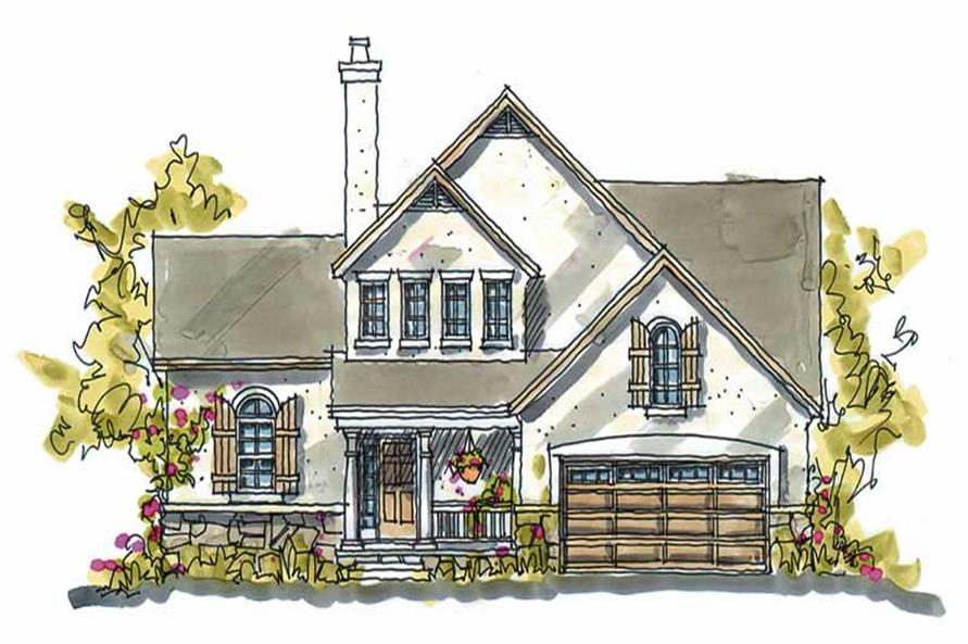 3-Bedroom, 1818 Sq Ft French House Plan - 120-1390 - Front Exterior
