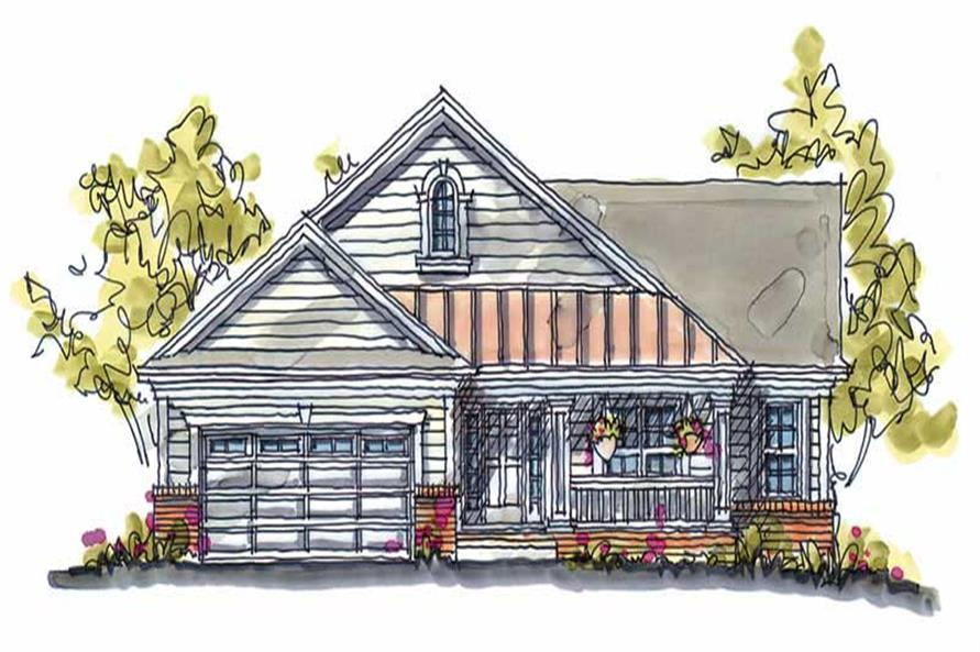 3-Bedroom, 1902 Sq Ft Country House Plan - 120-1391 - Front Exterior