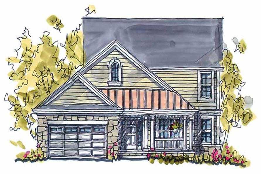 5-Bedroom, 2593 Sq Ft Country Home Plan - 120-1392 - Main Exterior