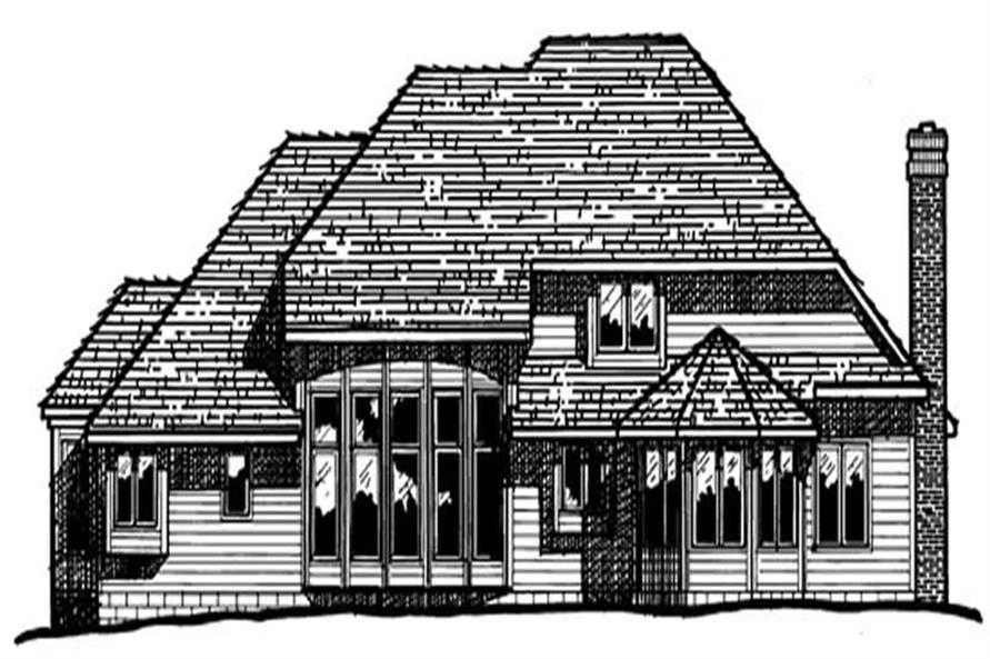 Home Plan Rear Elevation of this 4-Bedroom,2884 Sq Ft Plan -120-1396