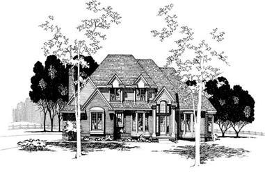 4-Bedroom, 2884 Sq Ft European House Plan - 120-1396 - Front Exterior