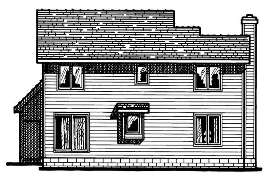 Home Plan Rear Elevation of this 3-Bedroom,1605 Sq Ft Plan -120-1398