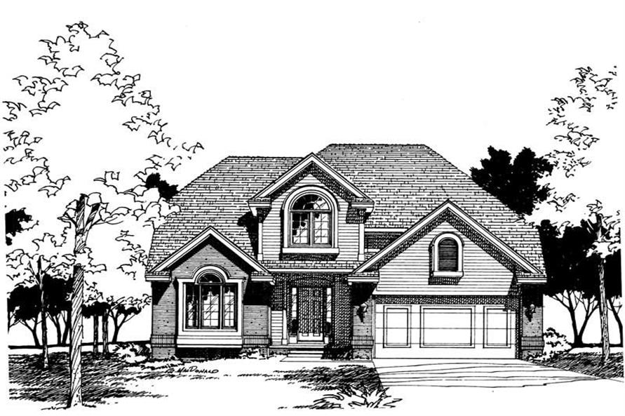 4-Bedroom, 1948 Sq Ft Traditional House Plan - 120-1401 - Front Exterior