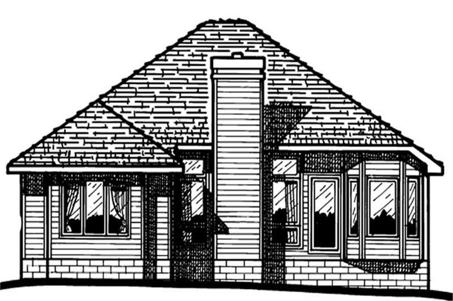 Home Plan Rear Elevation of this 4-Bedroom,1636 Sq Ft Plan -120-1420