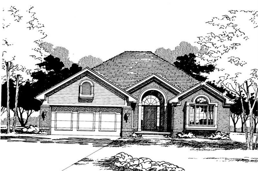 Home Plan Rendering of this 4-Bedroom,1636 Sq Ft Plan -120-1420
