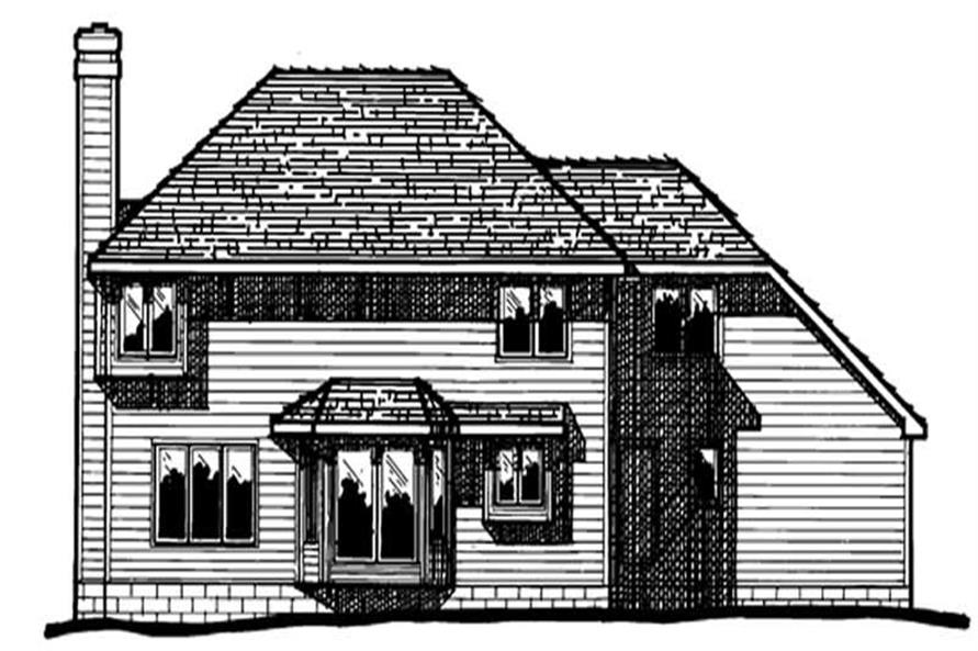 Home Plan Rear Elevation of this 4-Bedroom,2131 Sq Ft Plan -120-1423