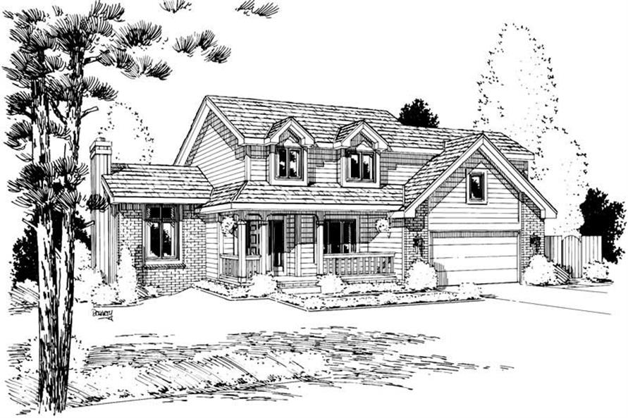 4-Bedroom, 2205 Sq Ft Country House Plan - 120-1436 - Front Exterior