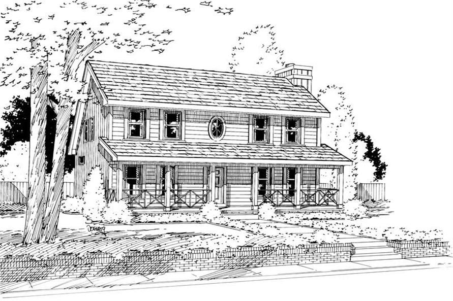 4-Bedroom, 2183 Sq Ft Country House Plan - 120-1448 - Front Exterior