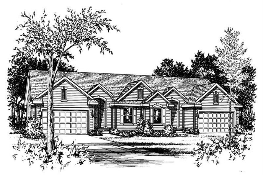 2-Bedroom, 1212 Sq Ft Multi-Unit House Plan - 120-1450 - Front Exterior