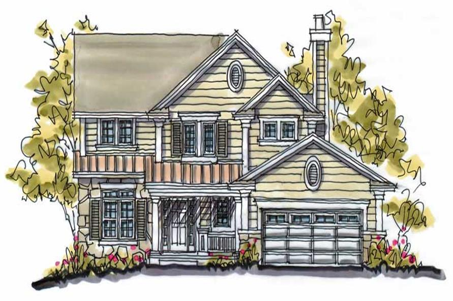 4-Bedroom, 2542 Sq Ft Country House Plan - 120-1454 - Front Exterior