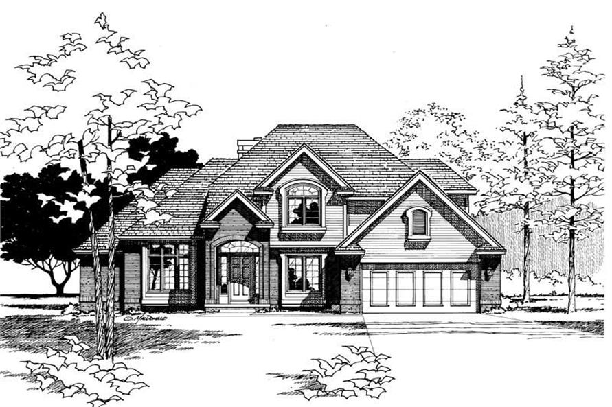 Home Plan Rendering of this 4-Bedroom,2340 Sq Ft Plan -120-1465