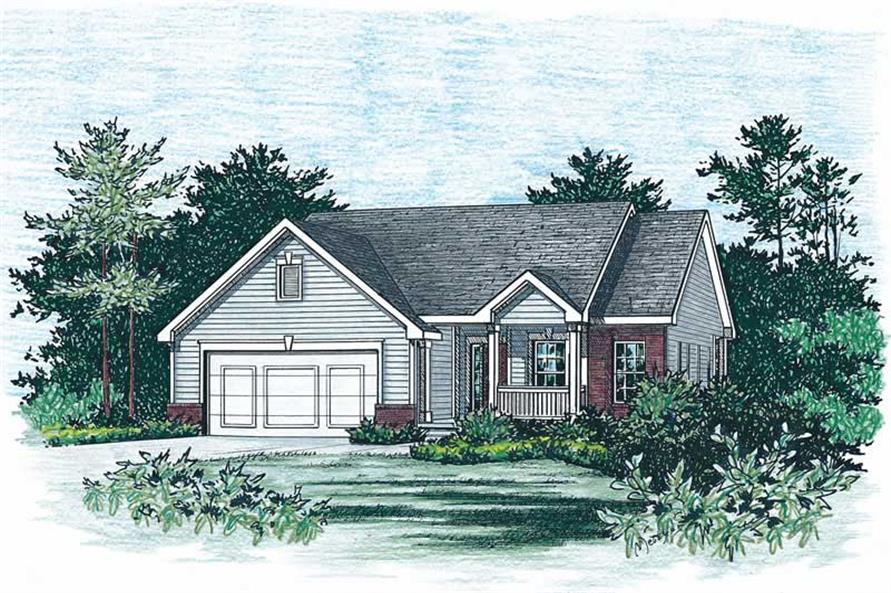 2-Bedroom, 1377 Sq Ft Small House Plans - 120-1470 - Front Exterior