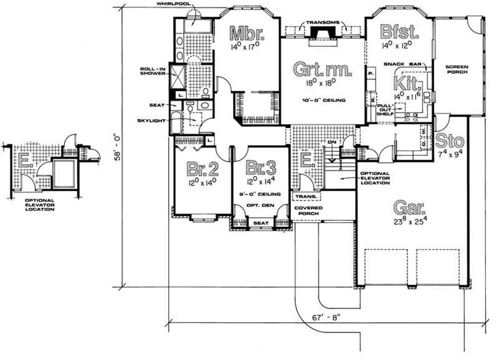 Ranch home plan 3 bedrms 2 baths 2053 sq ft 120 1495 for Handicap home designs
