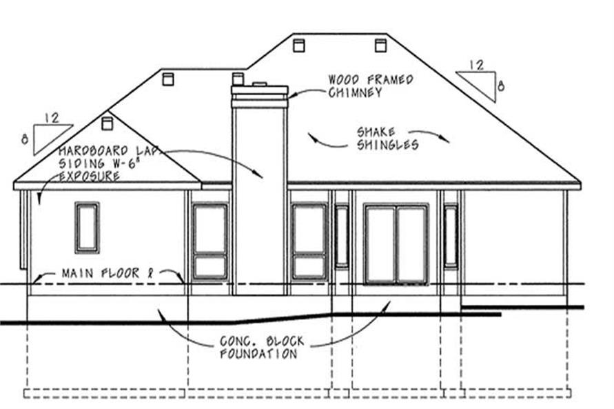 Home Plan Rear Elevation of this 4-Bedroom,1853 Sq Ft Plan -120-1498