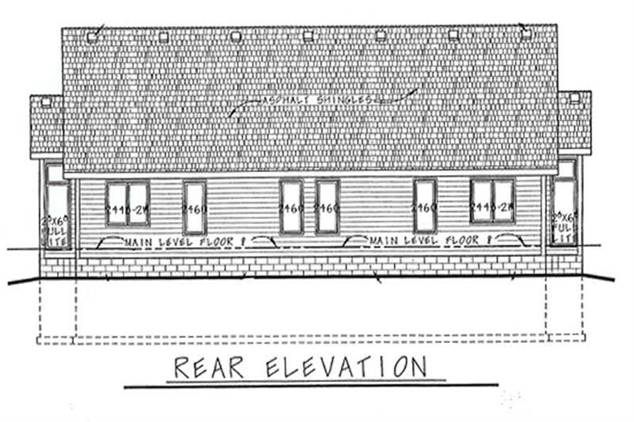 Home Plan Rear Elevation of this 2-Bedroom,1218 Sq Ft Plan -120-1504