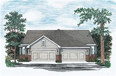 2-Bedroom, 1218 Sq Ft Multi-Unit Home Plan - 120-1504 - Main Exterior