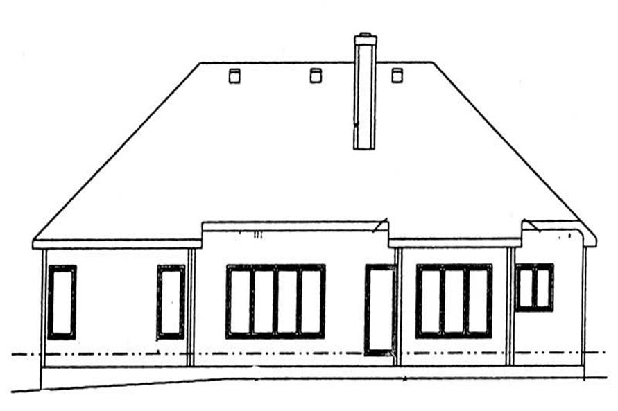 Home Plan Rear Elevation of this 2-Bedroom,1636 Sq Ft Plan -120-1510