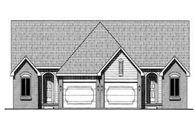 3-Bedroom, 1392 Sq Ft Multi-Unit Home Plan - 120-1512 - Main Exterior
