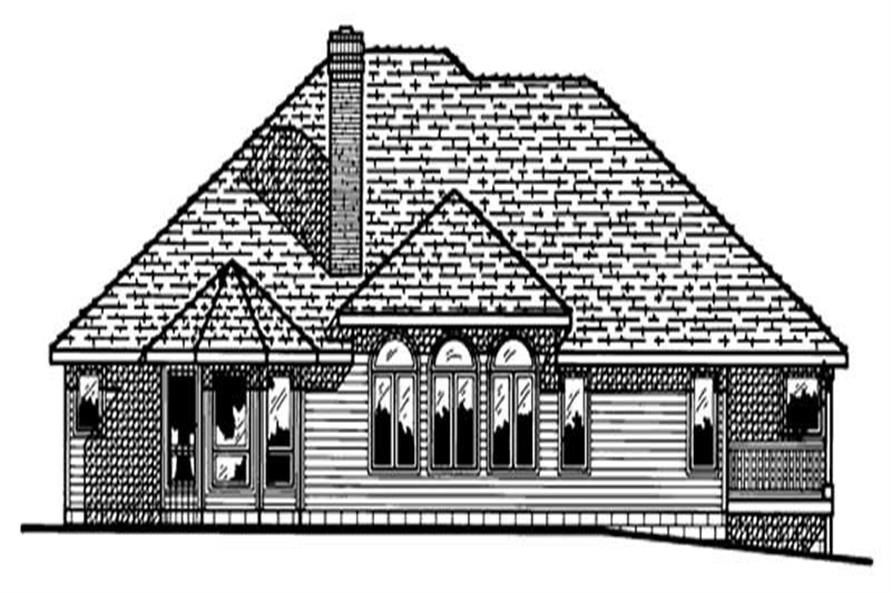 Home Plan Rear Elevation of this 3-Bedroom,2187 Sq Ft Plan -120-1514