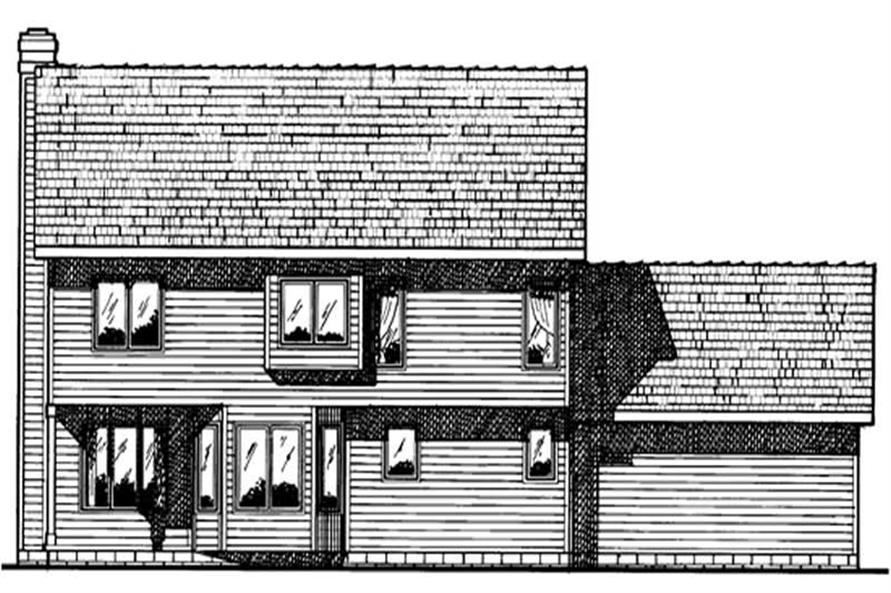Home Plan Rear Elevation of this 4-Bedroom,1933 Sq Ft Plan -120-1518