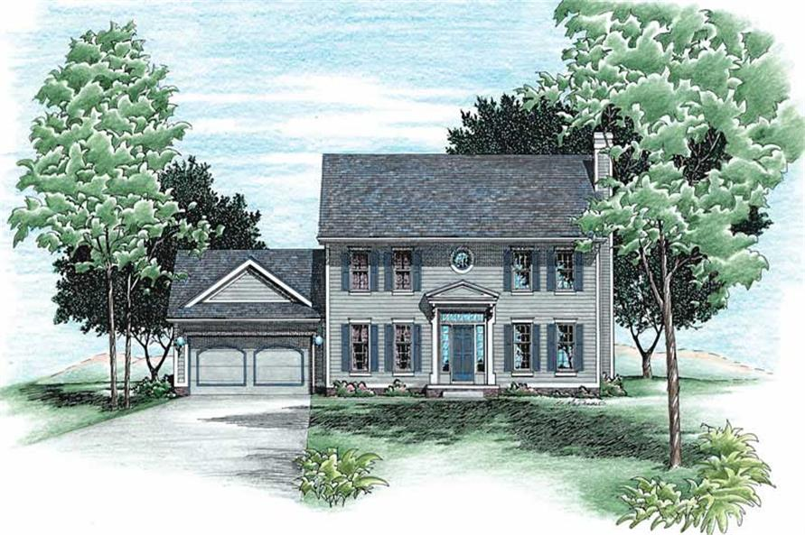 4-Bedroom, 1933 Sq Ft Colonial Home Plan - 120-1518 - Main Exterior