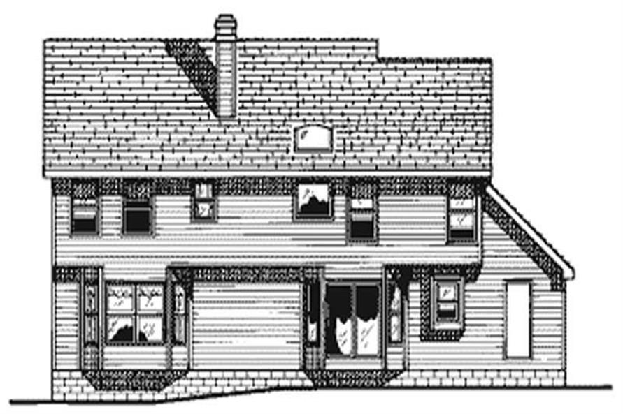 Home Plan Rear Elevation of this 4-Bedroom,2644 Sq Ft Plan -120-1529