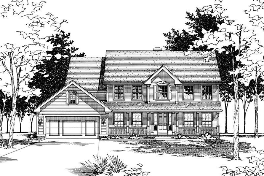 4-Bedroom, 2644 Sq Ft Country Home Plan - 120-1529 - Main Exterior