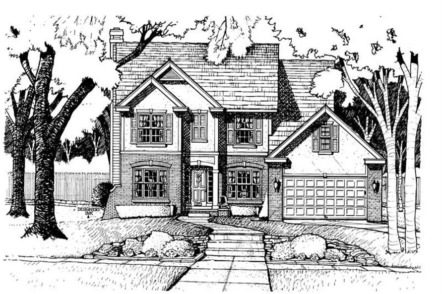 4-Bedroom, 2349 Sq Ft Traditional House Plan - 120-1530 - Front Exterior