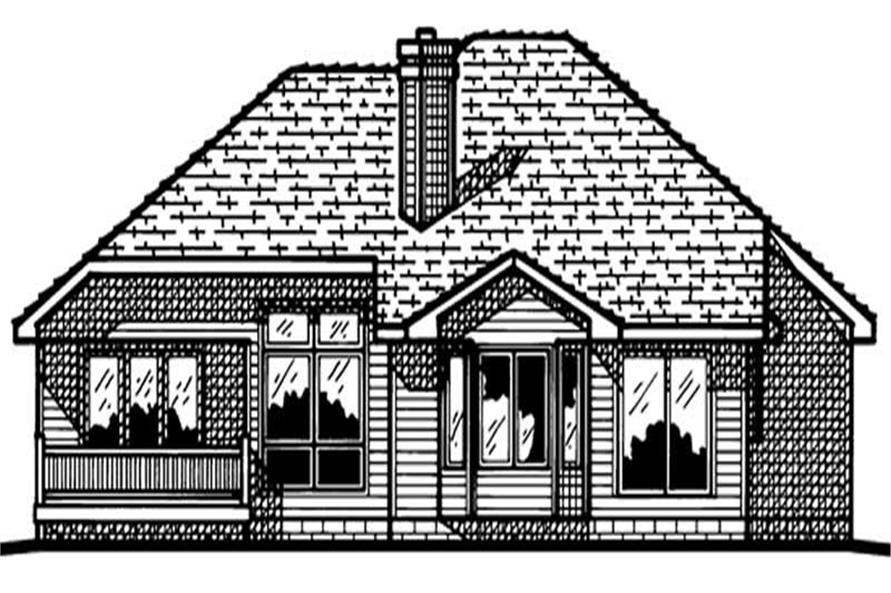 Home Plan Rear Elevation of this 3-Bedroom,1595 Sq Ft Plan -120-1531