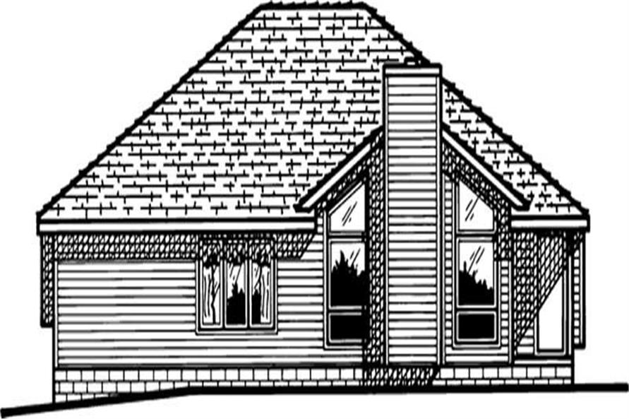 Home Plan Rear Elevation of this 3-Bedroom,1518 Sq Ft Plan -120-1534