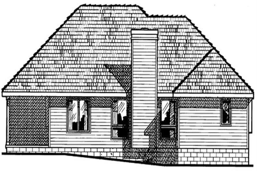 Home Plan Rear Elevation of this 3-Bedroom,1422 Sq Ft Plan -120-1544
