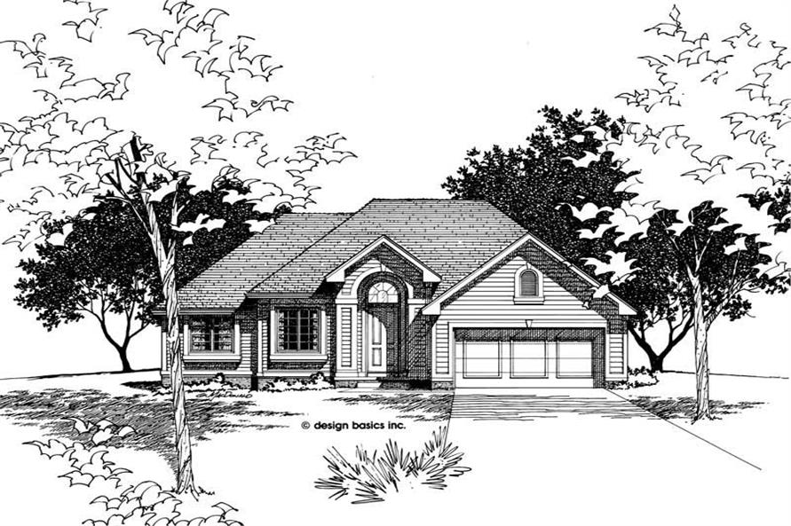 Front Elevation of this 3-Bedroom,1422 Sq Ft Plan -1422