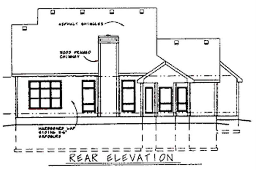 Home Plan Rear Elevation of this 4-Bedroom,2613 Sq Ft Plan -120-1559