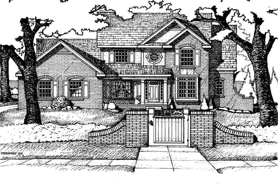 Home Plan Rendering of this 4-Bedroom,2613 Sq Ft Plan -120-1559