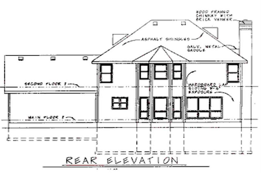 Home Plan Rear Elevation of this 4-Bedroom,2613 Sq Ft Plan -120-1562