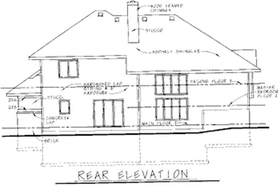 Home Plan Rear Elevation of this 4-Bedroom,2576 Sq Ft Plan -120-1566
